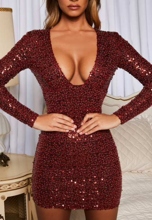 Rochie Good To Glow Long Sleeve Backless Embellished Mini [1]