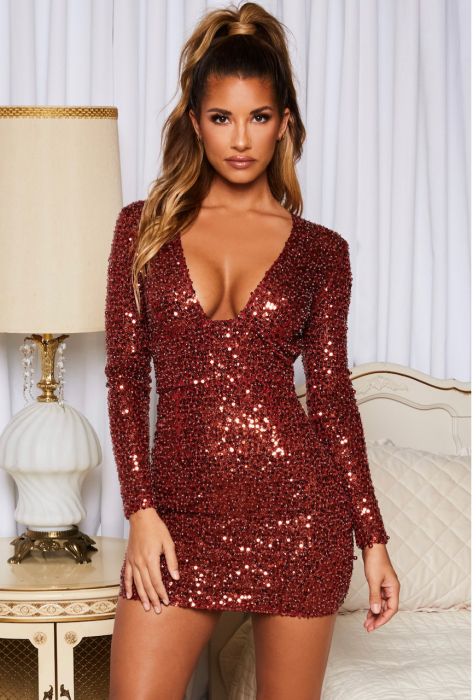 Rochie Good To Glow Long Sleeve Backless Embellished Mini [0]