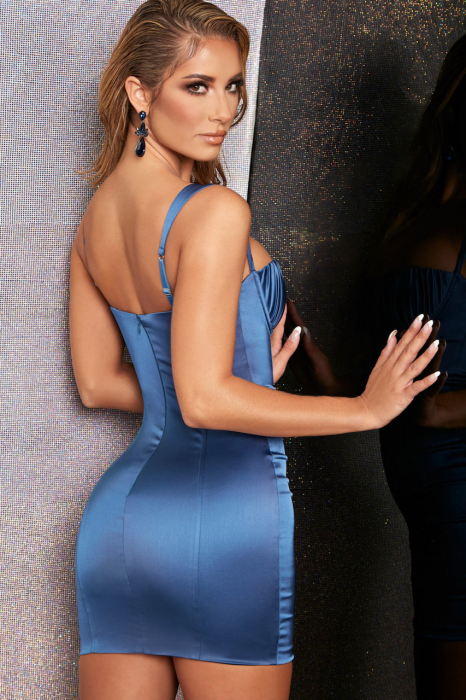 ROCHIE MIDNIGHT ROMANCE BODYCON SATIN MINI 1