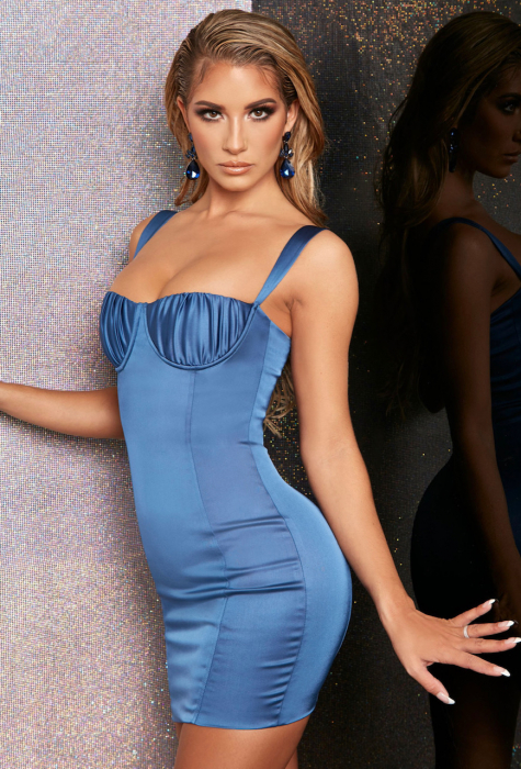 ROCHIE MIDNIGHT ROMANCE BODYCON SATIN MINI 2