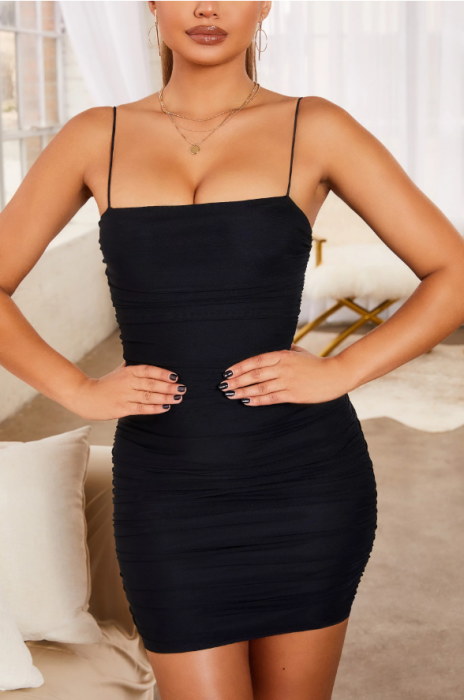 Rochie SIMPLY BLISS RUCHED MESH BODYCON MINI 1