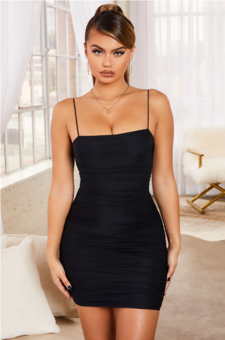 Rochie SIMPLY BLISS RUCHED MESH BODYCON MINI 0