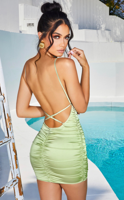 Rochie Sweetener Backless Runched Satin Mini 2