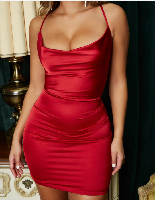 Rochie On The Prowl Strappy Cowl Neck Satin [4]