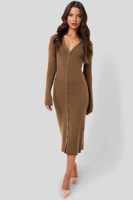 Rochie Ribbed Knitted Midi 0