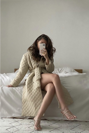 Overisized Quilted Long Jacket NA-KD Trend, Beige [0]