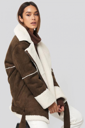 Geaca Belted Faux Fur Aviator Oversized [2]