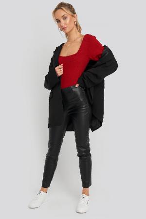 Pantaloni Front Detail Seam Pu [0]