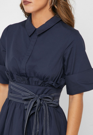 Rochie Tie Side Shirt Dress with Collar [1]