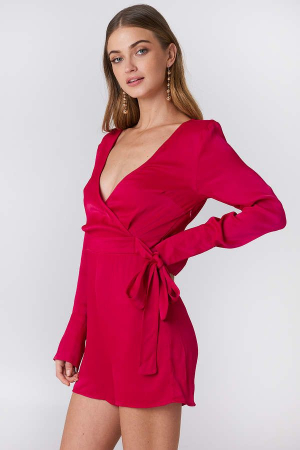 Overlap Satin Playsuit1