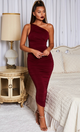 Rochie Cold Shoulder Asymmetric Ruched Midaxi3