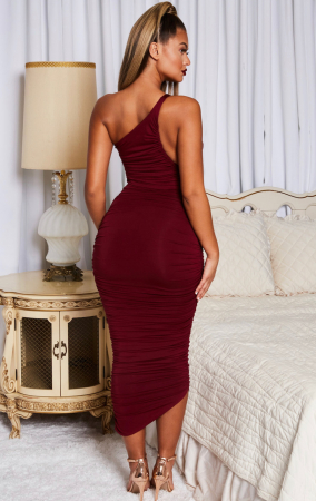 Rochie Cold Shoulder Asymmetric Ruched Midaxi4