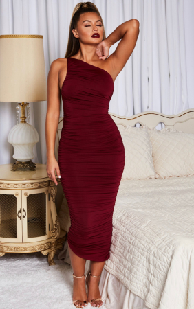 Rochie Cold Shoulder Asymmetric Ruched Midaxi5