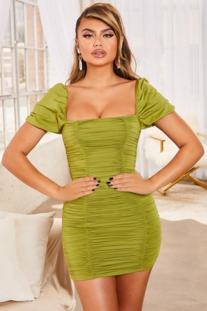 ROCHIE KNOW YOUR WORTH RUCHED BODYCON MINI0