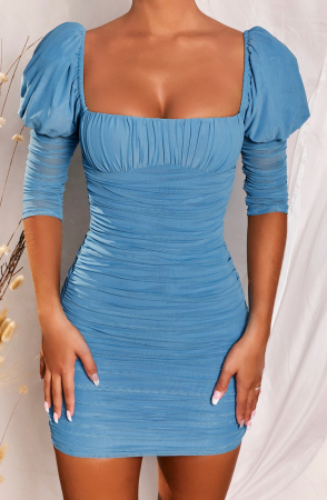 ROCHIE ALL EYES ON YOU PUFF SLEEVE MESH MINI0