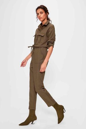 Salopeta Khaki Belted Jumpsuit [0]