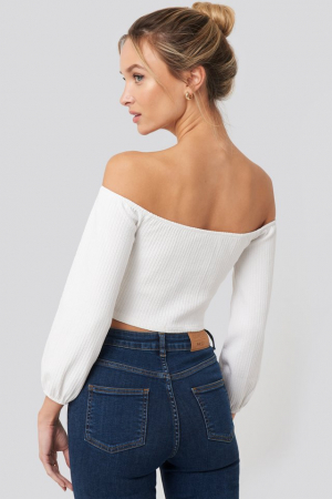 Bluza Puff Sleeve Button Up Crop Top1