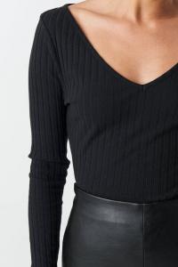 Bluza V-neck Ribbed Long Sleeve [3]