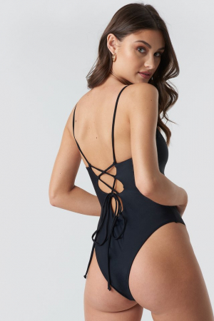 Lacing Open Back Swimsuit1