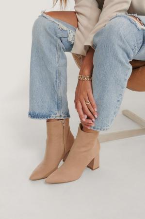 Botine Basic Slanted Heel Faux Suede [4]