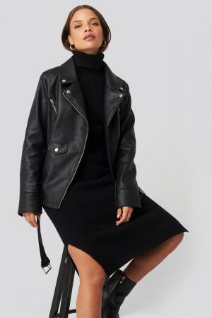 Jacheta Oversized Detail Faux Leather0