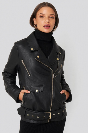 Jacheta Oversized Detail Faux Leather2