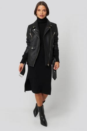 Jacheta Oversized Detail Faux Leather3