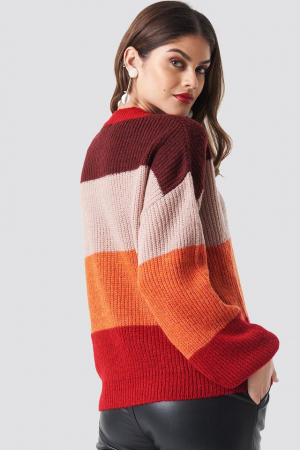 Pulover Color Striped Balloon Sleeve Knitted1