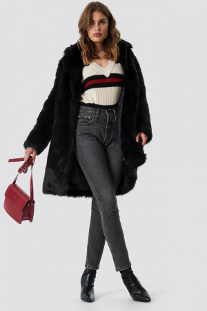 Faux Fur Collar Long Jacket0
