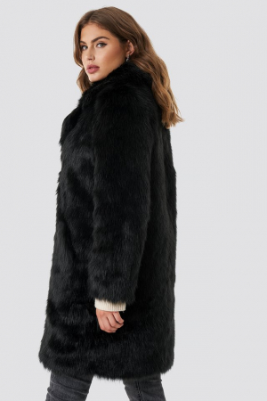 Faux Fur Collar Long Jacket1