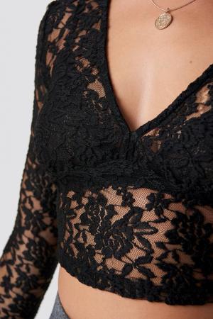 Bluza Cropped V-neck Lace Top3