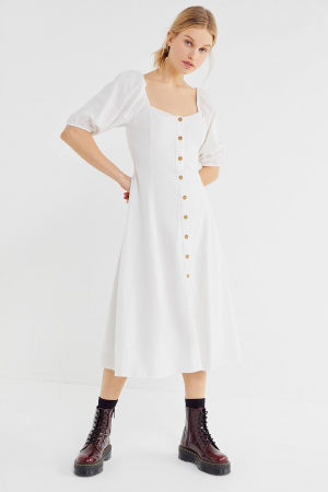 Rochie Puff Sleeve Button-Front Midi0