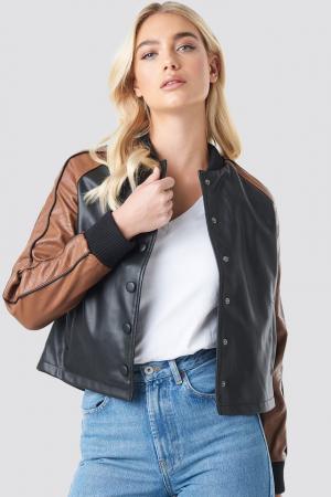 Geaca Contrast Sleeve PU Jacket [0]