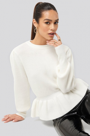 Pulover Balloon Sleeve Frilled Sweater0