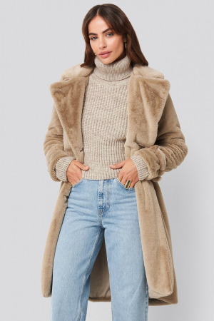 Haina Double Breasted Belted Faux Fur [1]