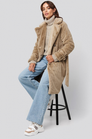 Haina Double Breasted Belted Faux Fur [0]