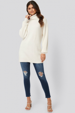 Pulover Big Collar Knitted Long0