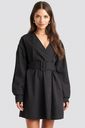 Rochie Camasa Belted Long Sleeve1