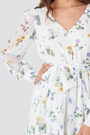 Puffy Shoulder Floral Midi Dress2