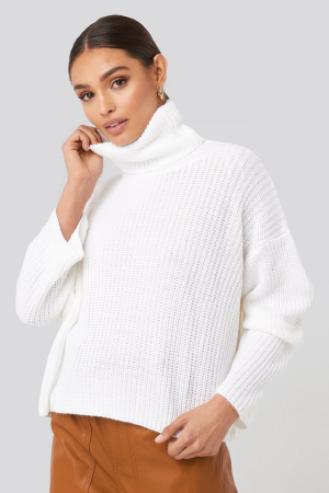 Pulover Oversized High Neck Knitted0