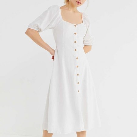 Rochie Puff Sleeve Button-Front Midi2
