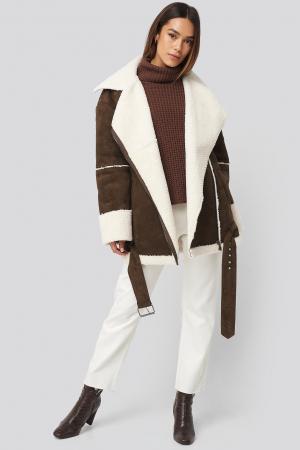 Geaca Belted Faux Fur Aviator Oversized [0]