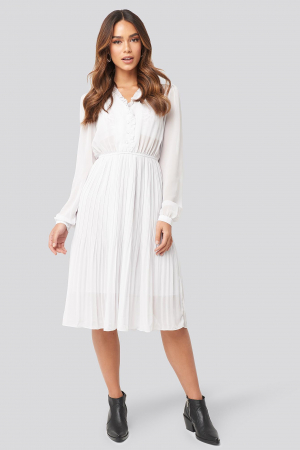Pleated Flowy Button Up Dress0