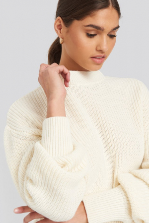 Pulover Balloon Sleeve Ribbed Sweater2