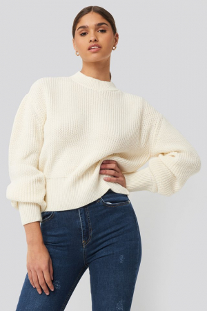 Pulover Balloon Sleeve Ribbed Sweater0