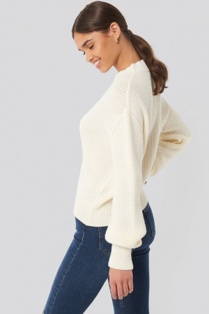 Pulover Balloon Sleeve Ribbed Sweater3
