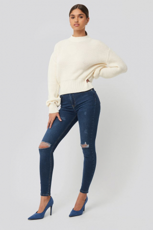 Pulover Balloon Sleeve Ribbed Sweater1