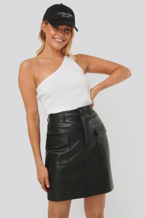 Fusta Big Pocket PU Mini Skirt0