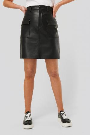 Fusta Big Pocket PU Mini Skirt2