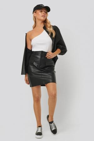 Fusta Big Pocket PU Mini Skirt3